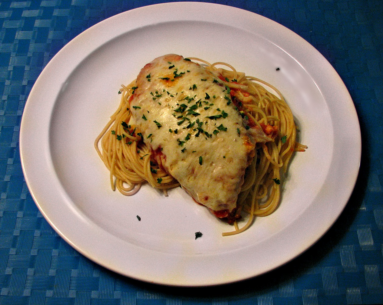 Chicken Parmesean Over Thin Spaghetti