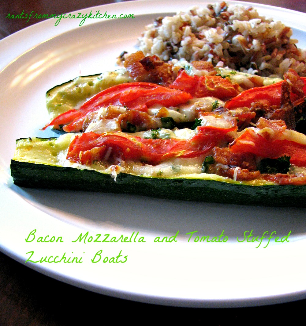 Bacon Mozzarella and Tomato Stuffed Zucchini Boats - Rants From My ...