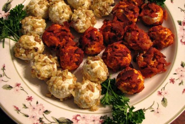 Bacon and Smoked Paprika and Walnut Wasabi Mini Cheese Balls